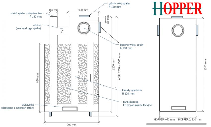 Wymiennik akumulacyjny HOPPER - schemat rozmiarowy