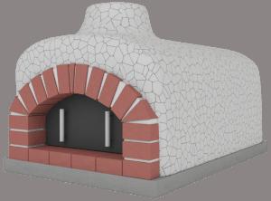 Piec do pizzy wykończony mozaiką białą