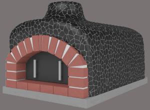 Czarna mozaika na piecach do pizzy