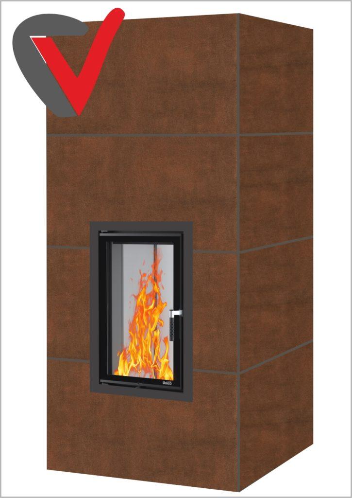 Brazowy ciepły kominek WIR-8
