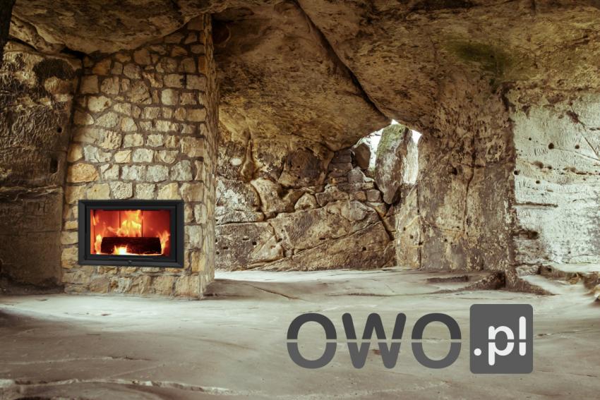 Nowoczesny kominek UNICO w jaskini